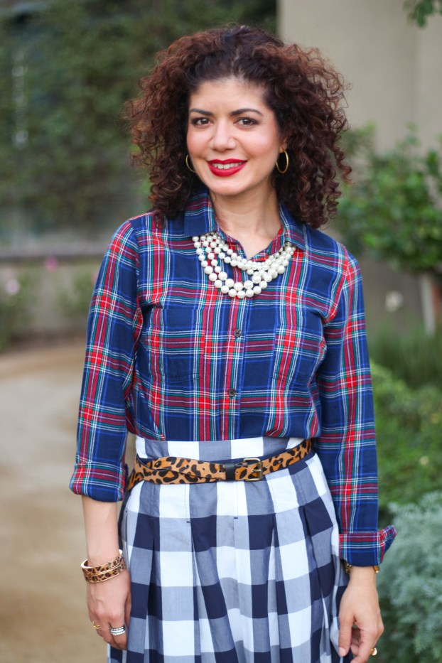 plaid on plaid with leopard