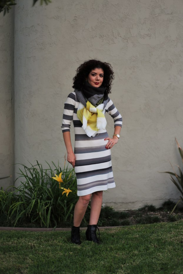 Ilymix yellow plaid knotted scarf with anthropologie grey striped dress and banana republic booties