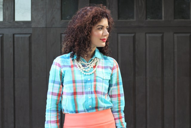 Fall transition outfit with J crew plaid shirt, pearls and J crew coral pencil skirt