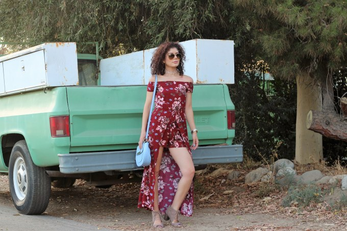 fall florals; SheIn burgundy off the shoulder flower print high low romper