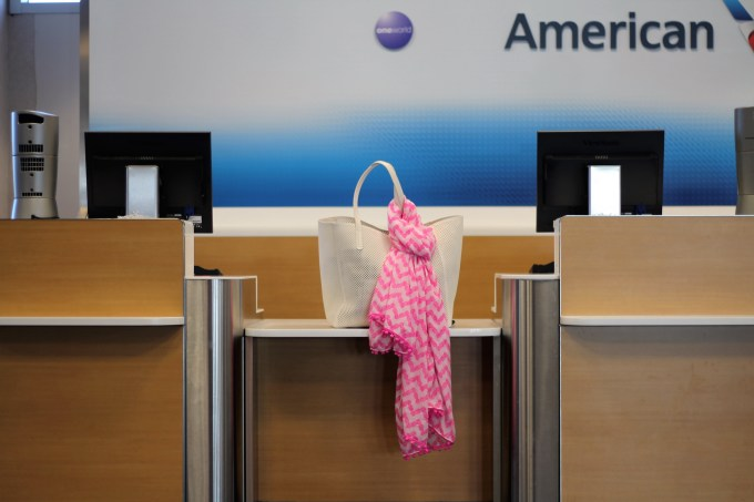 target beach bag with Lilly for Target scarf at American Airlines counter at LAX