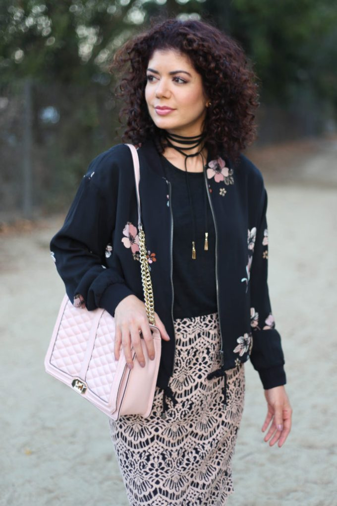 floral bomber jacket and choker