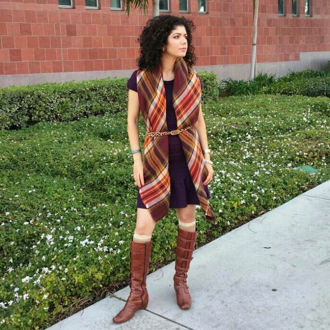 Burgundy dress with blanket scarf for thanksgiving outfit