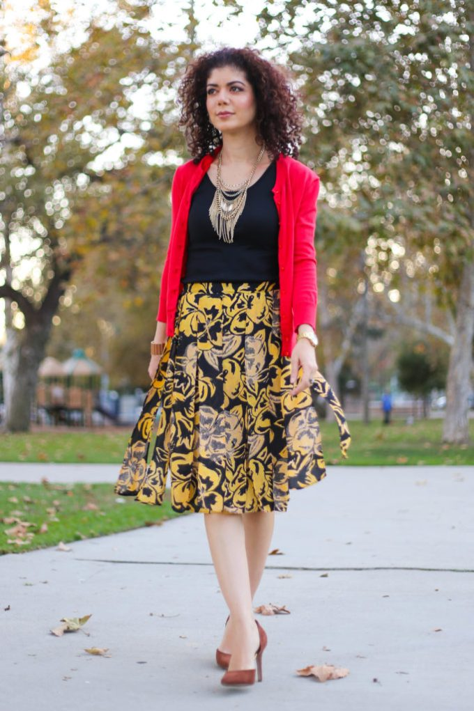Target car wash skirt outfit in mustard yellow and red
