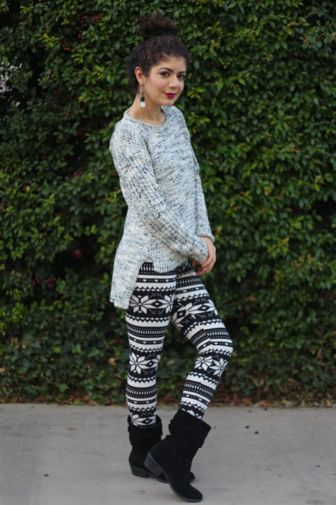 Patterned leggings with Target criss cross sweater
