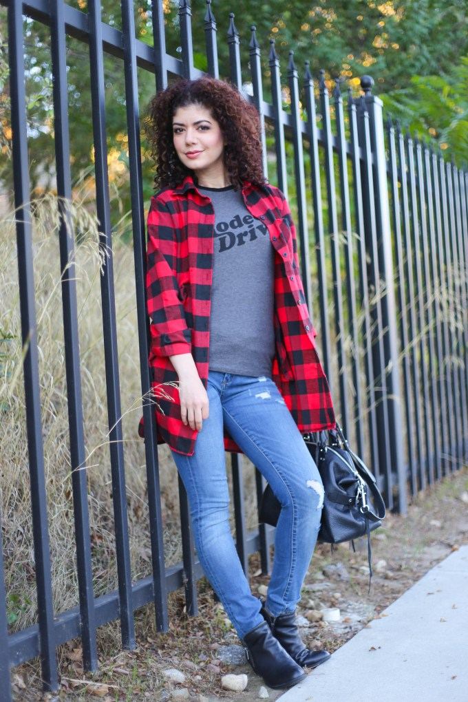 Romwe buffalo check tunic with graphic tee