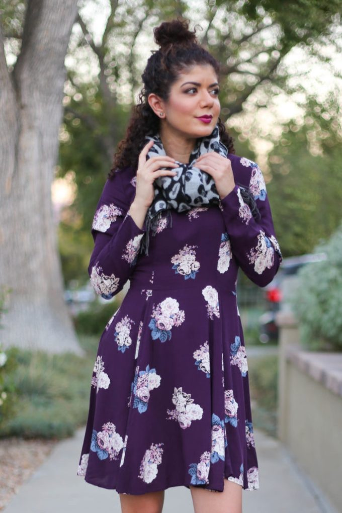 Target floral dress in a fall florals and leopard print outfit