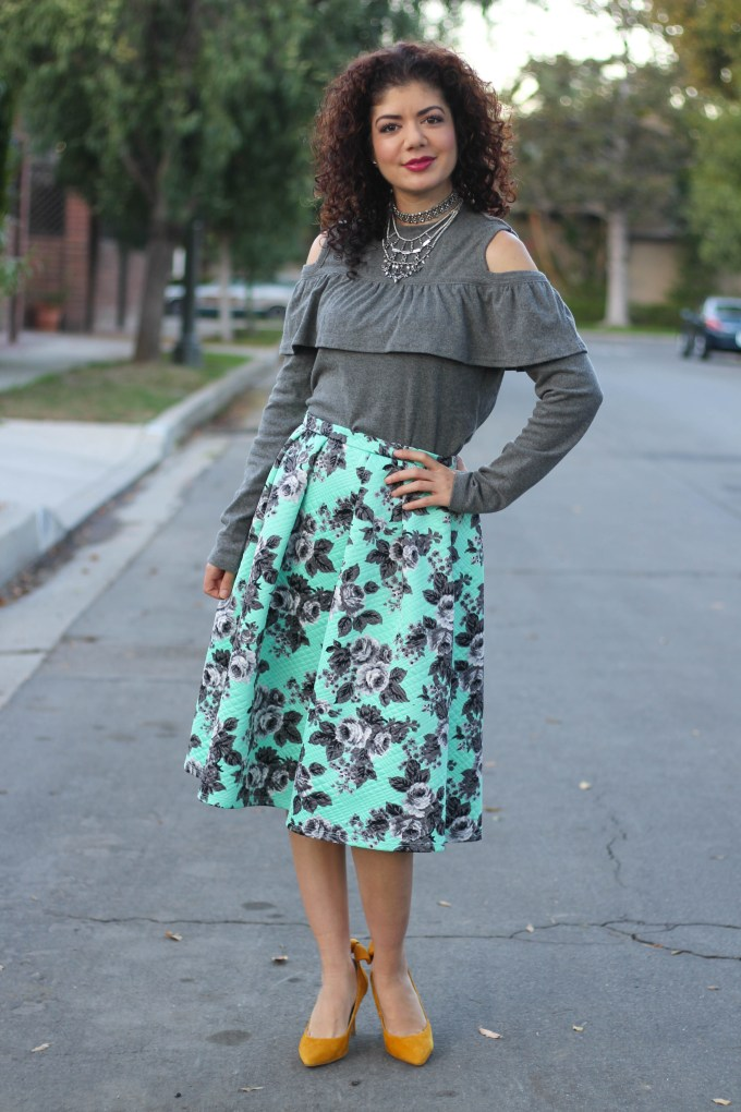 Shein ruffle cold shoulder sweater with floral print skirt