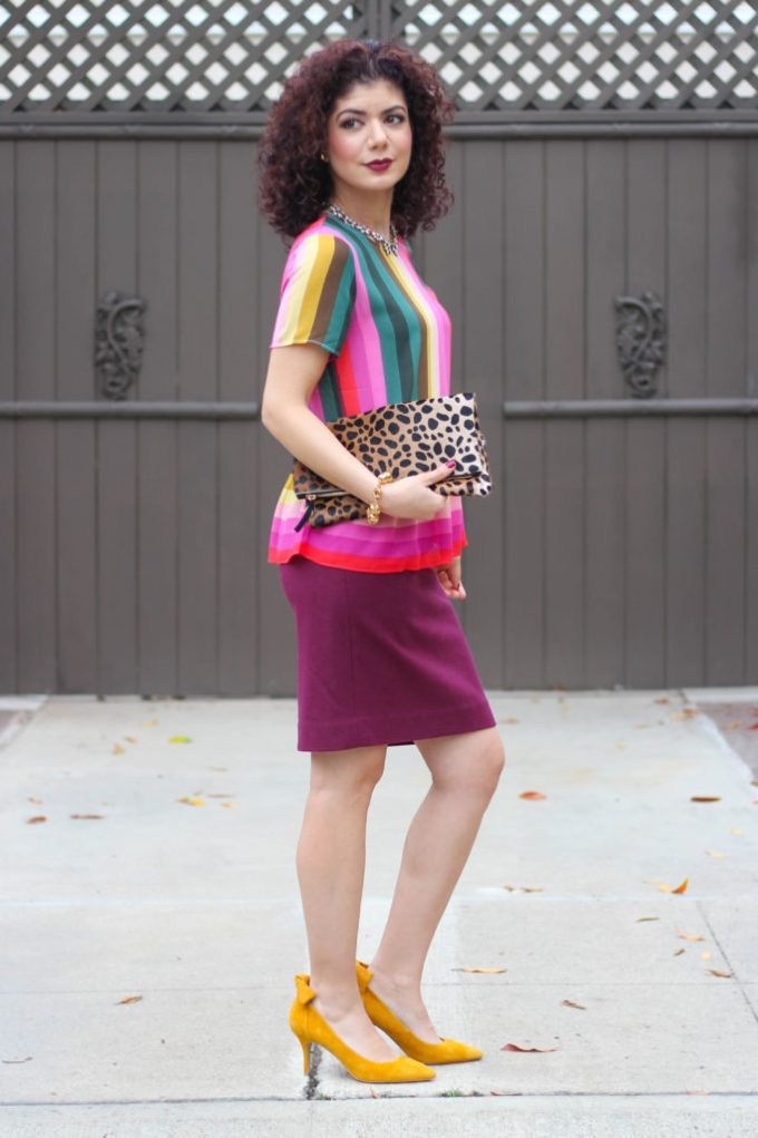 Polished whimsy in multi colored striped shirt for work