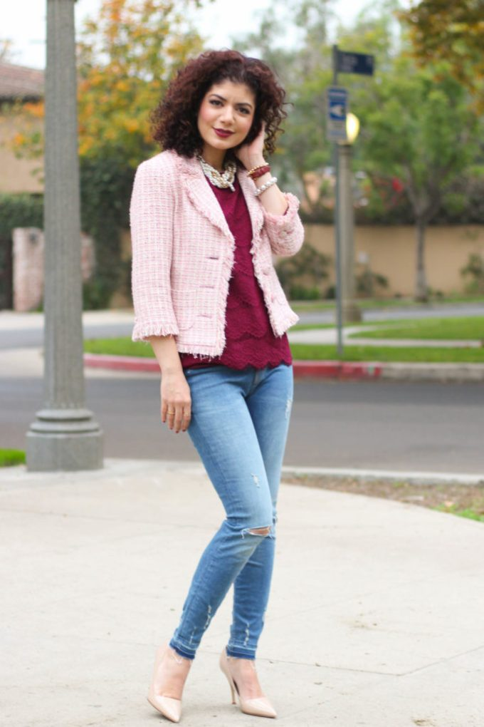 Polished whimsy in tweed pink and burgundy casual chic look