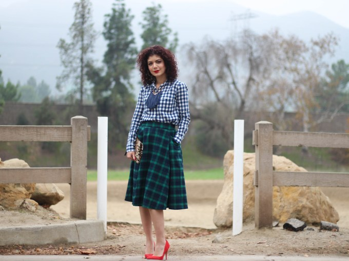 polished whimsy in gingham and tartan plaid outfit