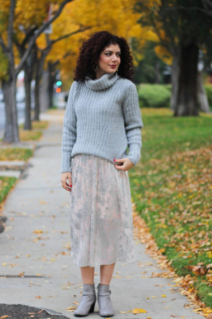 Polished whimsy's winter wardrobe transition with flowy skirt and turtleneck sweater