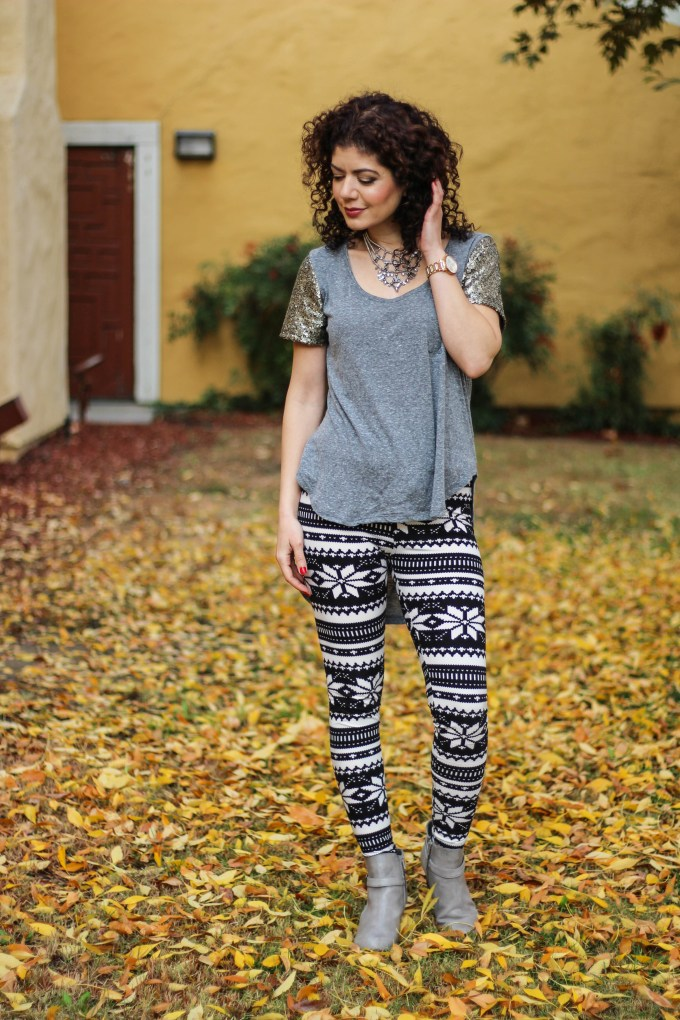 Polished whimsy in leggings and wedge booties