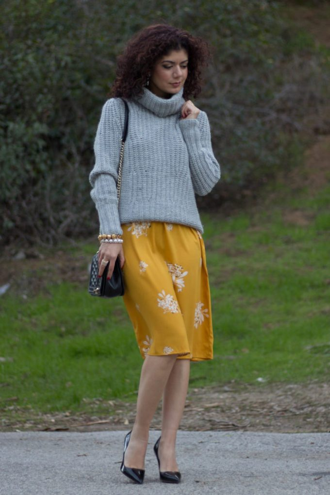 Gray and mustard yellow outfit as seen on Polished Whimsy blog