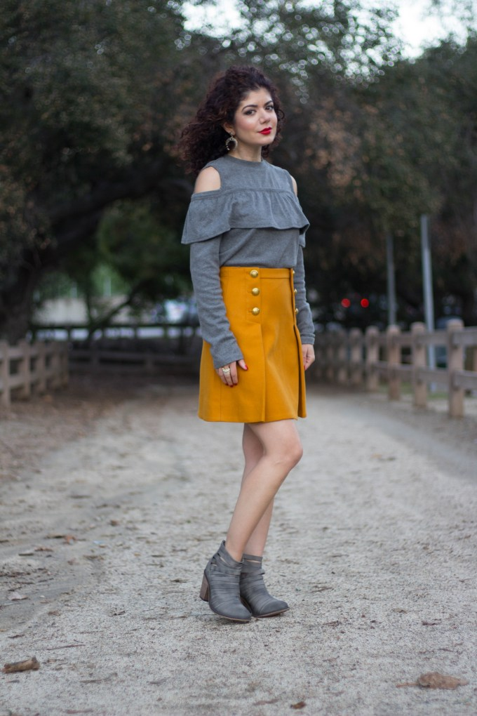 Polished whimsy in gray and mustard gold shoulder outfit