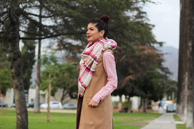Polished whimsy in burgundy and pink blanket scarf