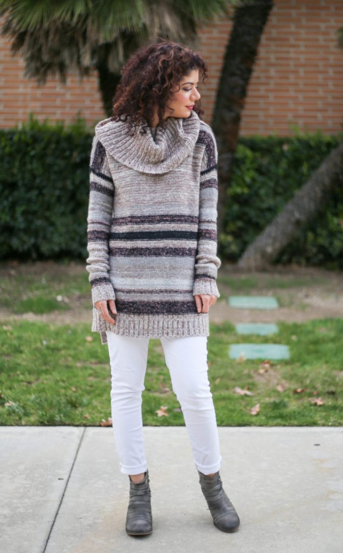Polished whimsy in white jeans for winter