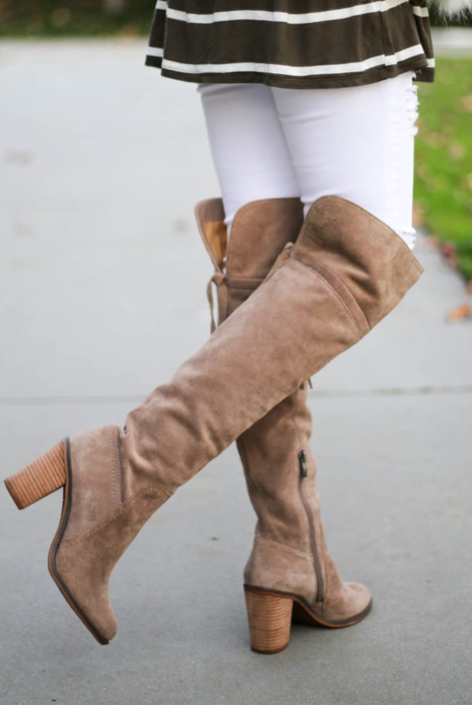 Polished whimsy in white jeans and over the knee taupe franko sarto boots