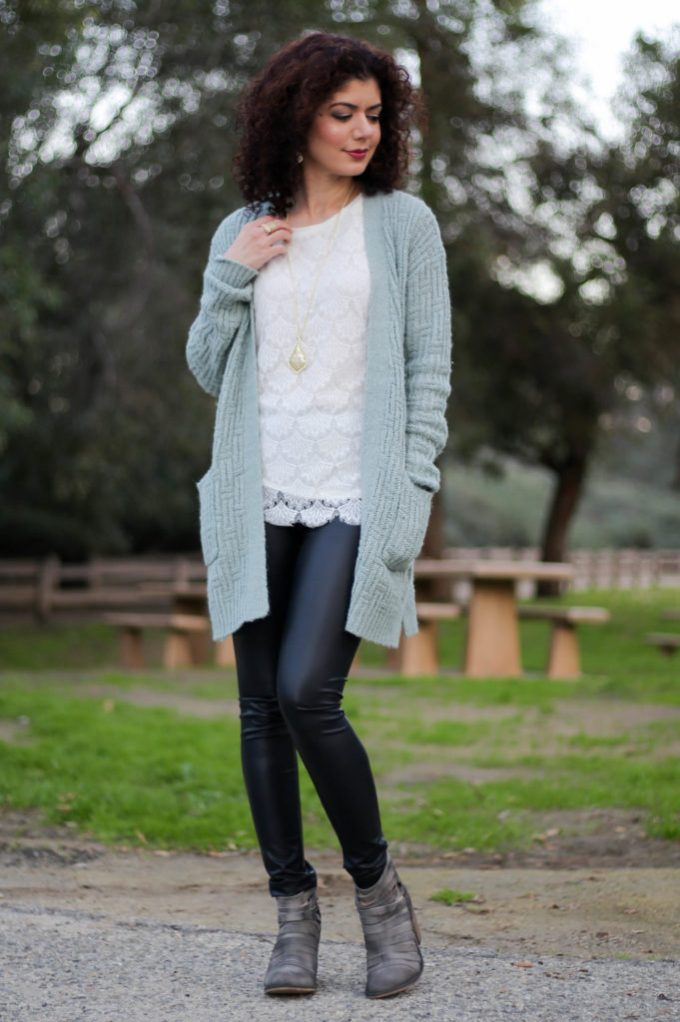 Polished whimsy in casual leather leggings outfit