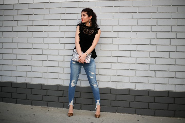 Polished Whimsy's anti-Valentine's Day look with velvet lace and distressed denim