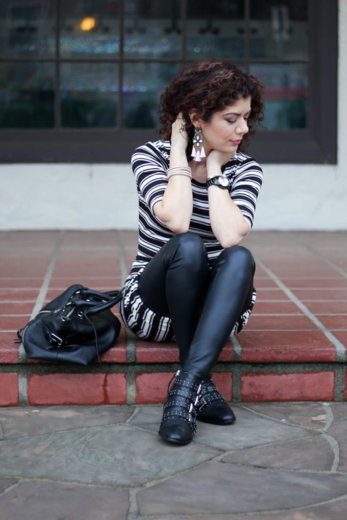 lu la roe julia with leather leggings