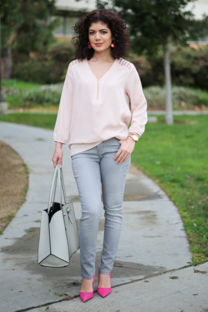 Blush and gray color combination