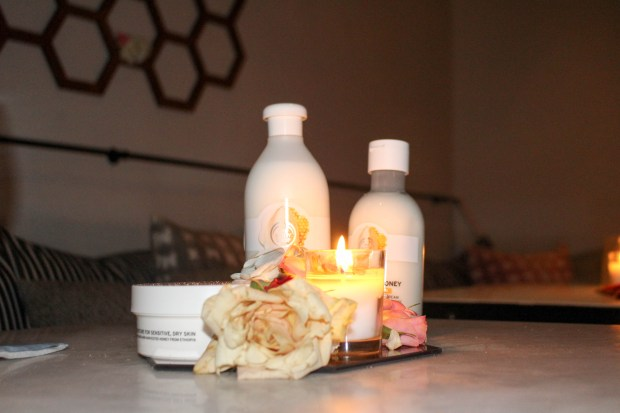 The body shops almond milk and honey body care collection