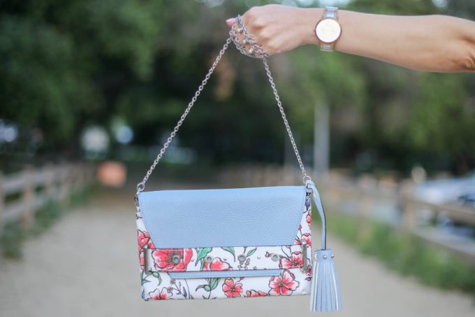 Light blue and red outfits: light blue and red floral print Target Sam and Libby clutch with crossbody strap