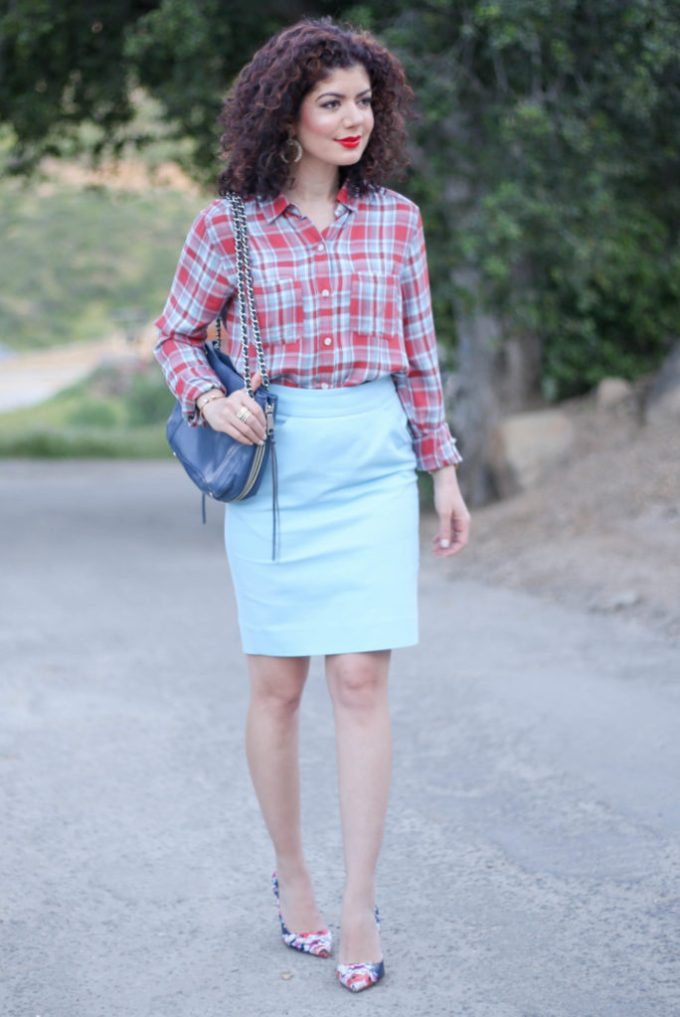 Everyday style blogger polished whimsy wearing examples of light blue and red outfits: baby blue and red Target boyfriend plaid shirt with light blue J crew factory skirt and floral pumps