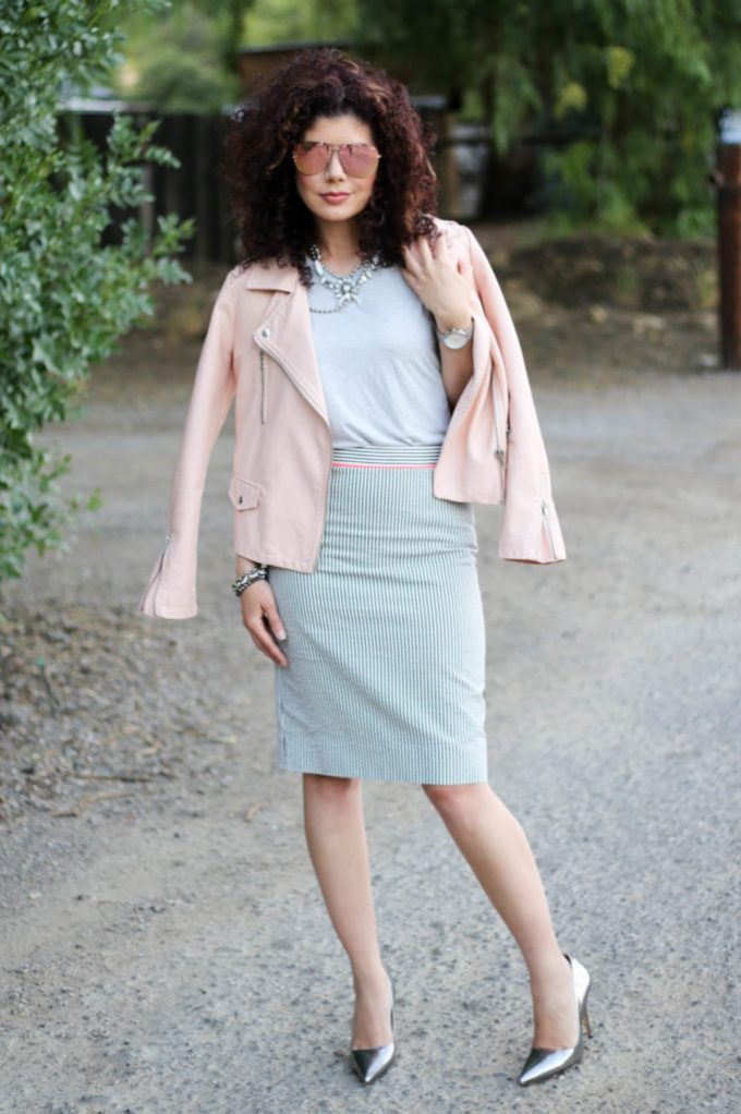 Spring leather jacket outfit styled for the workplace with J Crew striped seersucker pencil skirt and blush leather moto jacket.