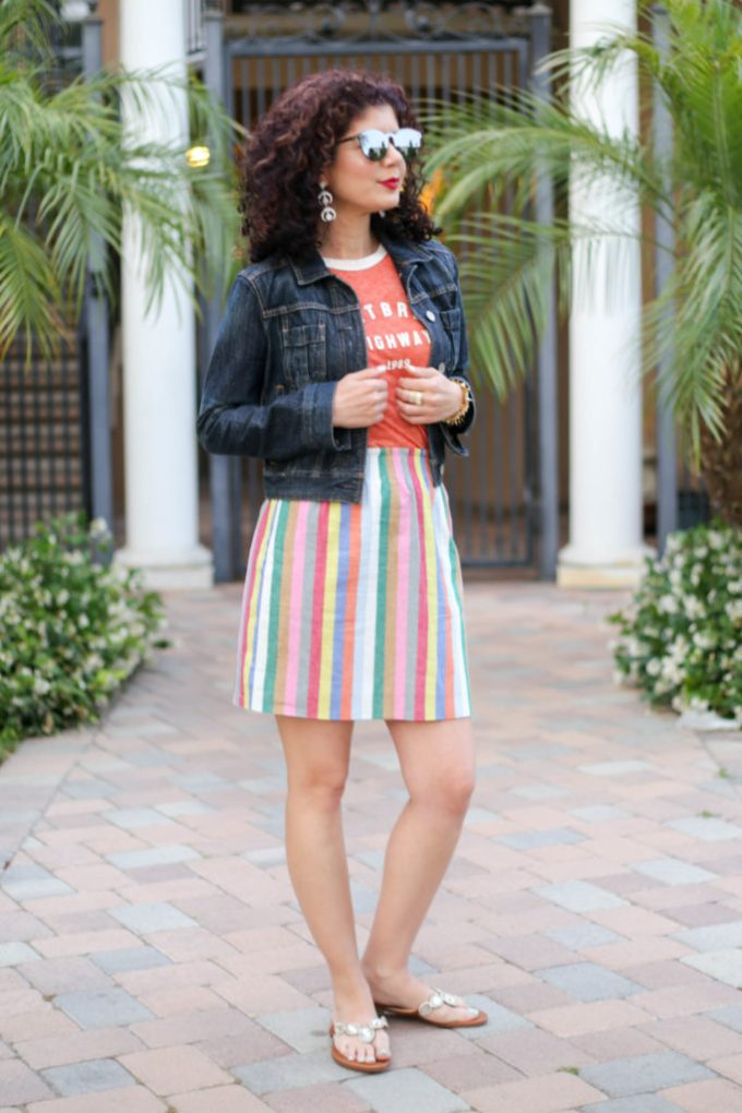 Colorful striped skirt styled casually with the J Crew sidewalk skirt