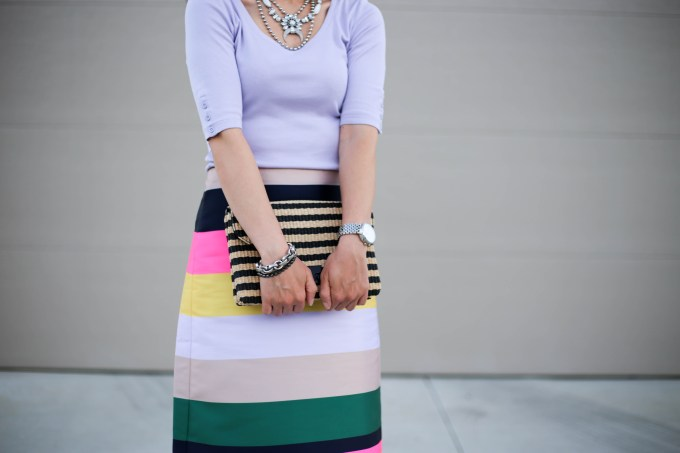 Colorful striped skirt for work: paired with a tee and heels the J Crew pop striped skirt adds color and pattern to an office ready outfit.