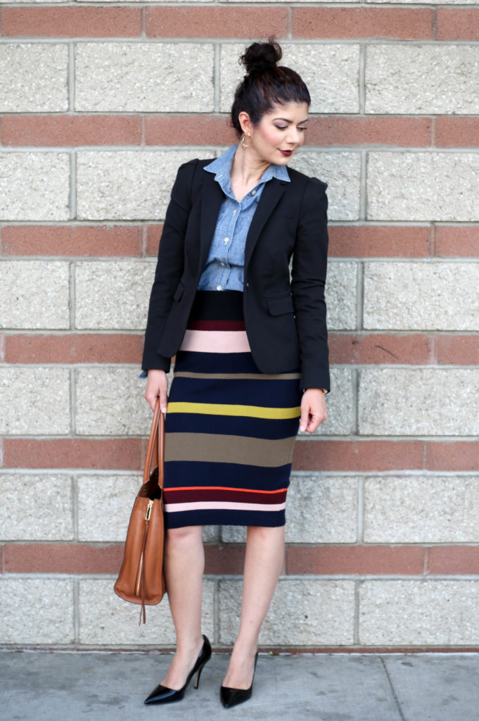 Colorful striped skirt for the office: add a chambray shirt and blazer for a pulled together work outfit