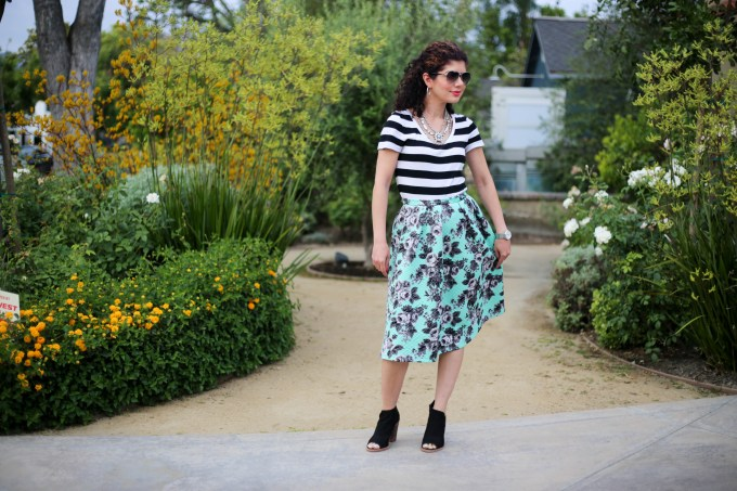Rugby stripe pattern mixing with a mint floral skirt and black and white striped tee shirt