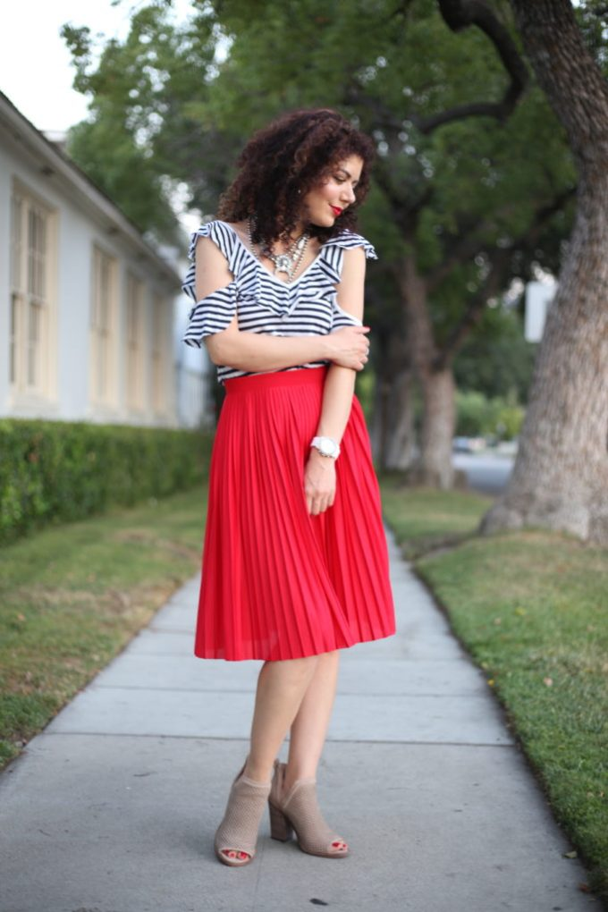 Fourth of July outfit idea with splendid french stripe cold shoulder top and red pleated skirt