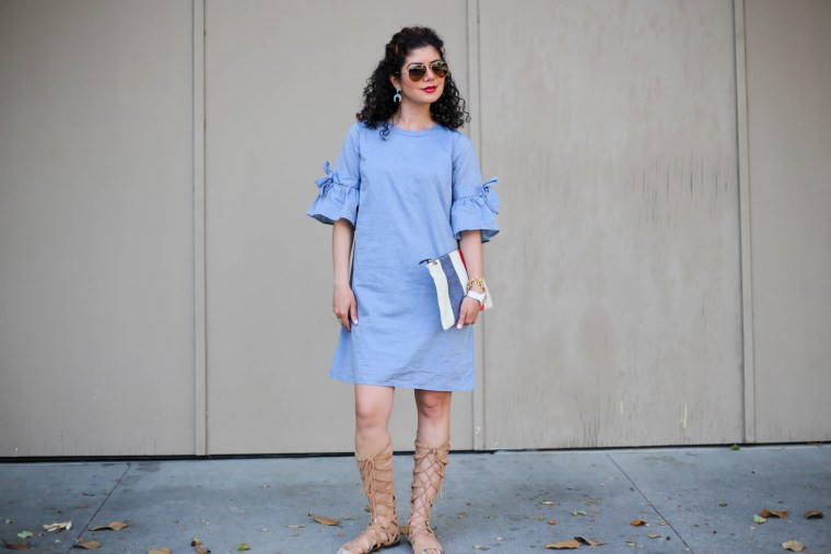 Fourth of July outfit with who what wear chambray dress and claire v canvas flat clutch