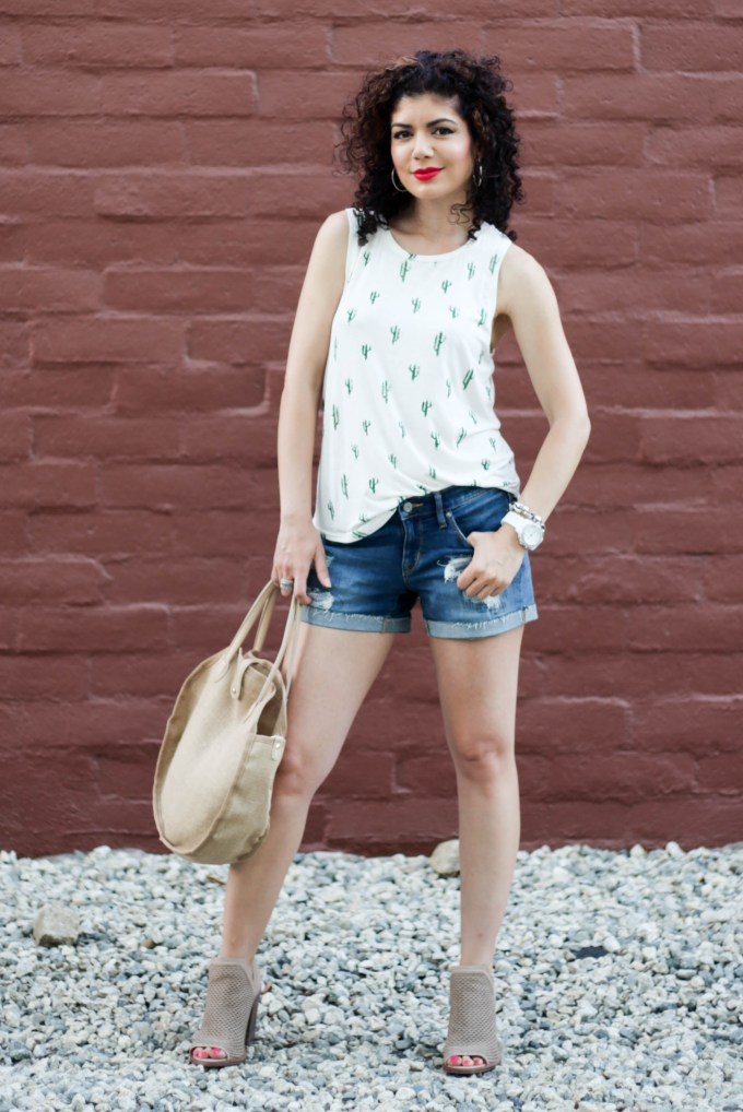 Cactus print top with denim cutoff shorts and kensa peep toe bootie