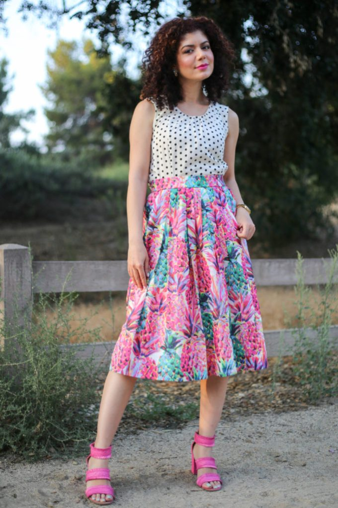 4d7e16685b8 ... J crew ratti painted pineapple a line skirt with J crew factory polka  dot top and