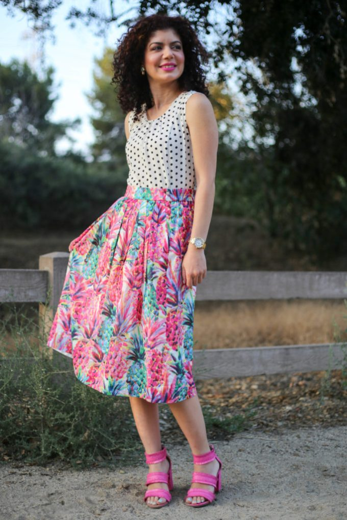 a5c2fdae738 J crew ratti painted pineapple a line skirt with J crew factory polka dot  top and ...