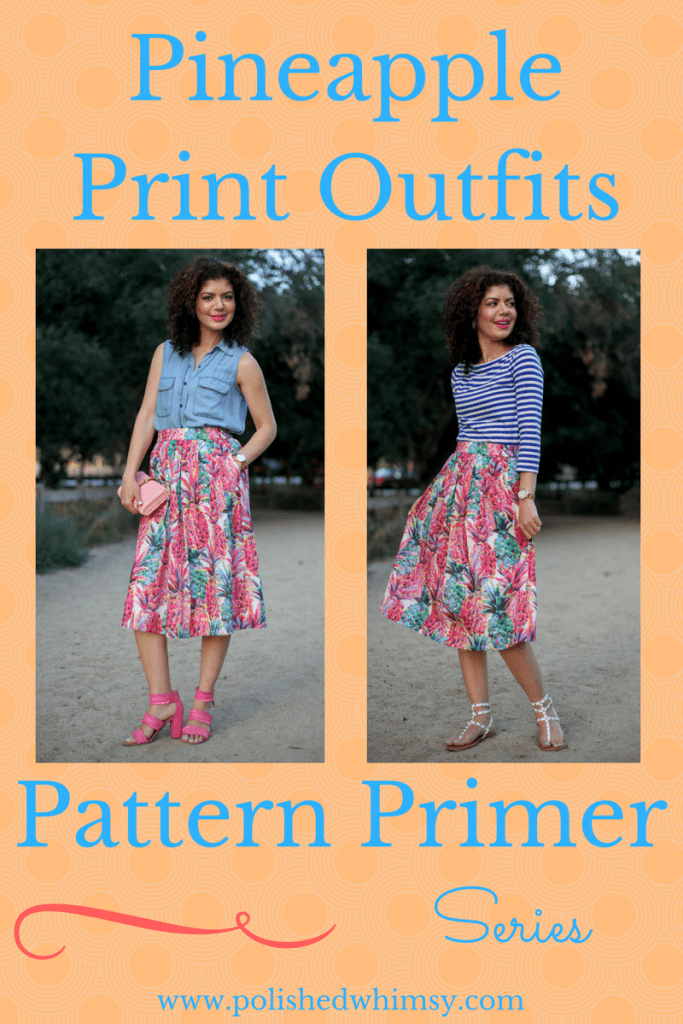 How to style pineapple print items with the J crew ratti painted pineapple a line skirt and blue striped tee for a pattern mixing cute and colorful outfit