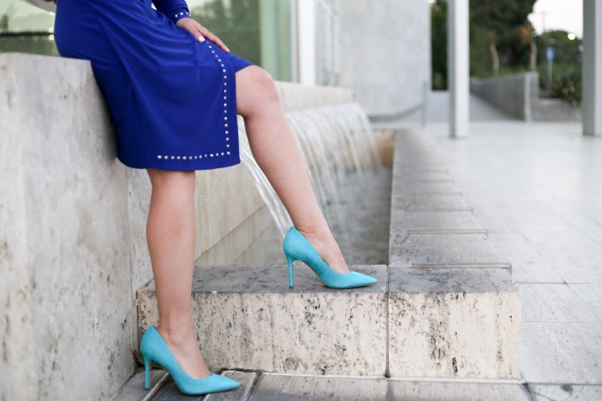 Cobalt and turquoise outfit with Picadilly Canada embellished asymmetrical hem dress and Sam Edelman turquoise pumps