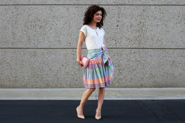 j crew rainbow gingham tie front skirt review and why I wear skirts to work
