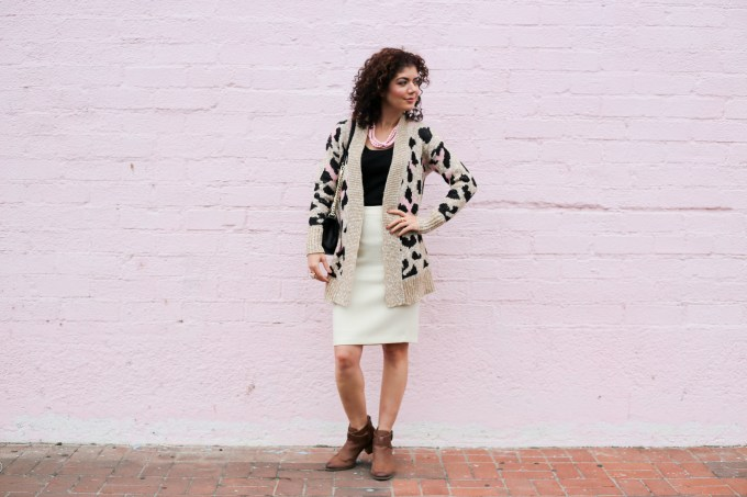 Cardigan sweater outfits for work, J crew ivory pencil skirt, Vionic Rory booties, leopard print cardigan, chunky cardigan