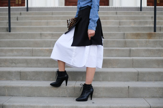 Reasons to mostly wear skirts featuring the Anthropologie Claudine shirting skirt | skirt code | review | skirt | midi skirt | J Crew chambray shirt | Clare V leopard print clutch