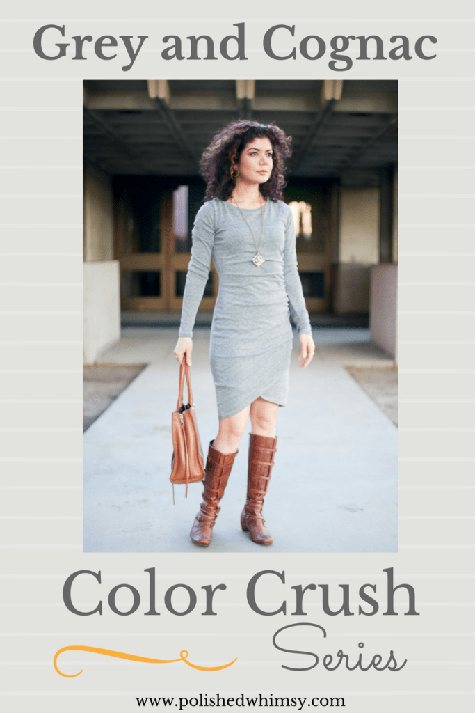 Grey And Cognac Outfit With Leith Ruched Long Sleeve Dress