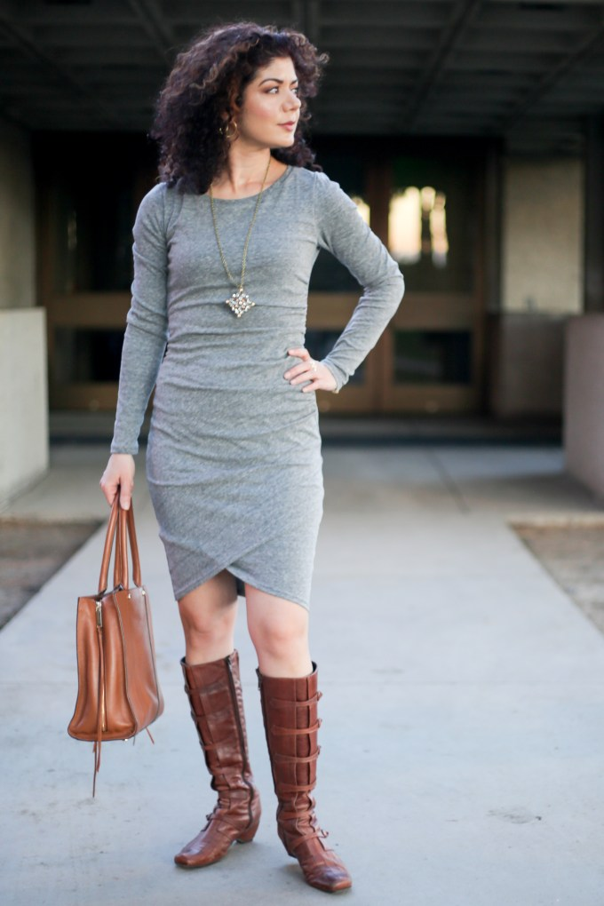 Leith ruched long sleeve dress | Rebecca Minkoff Regan Always On Side Zip Leather Tote-Handbags | color combination | outfit inspiration | winter outfit | color inspiration | grey and cognac outfit | cognac boots | knee-high boots | fall dress | winter dress | grey dress | neutral outfit | petite style | pendant necklace