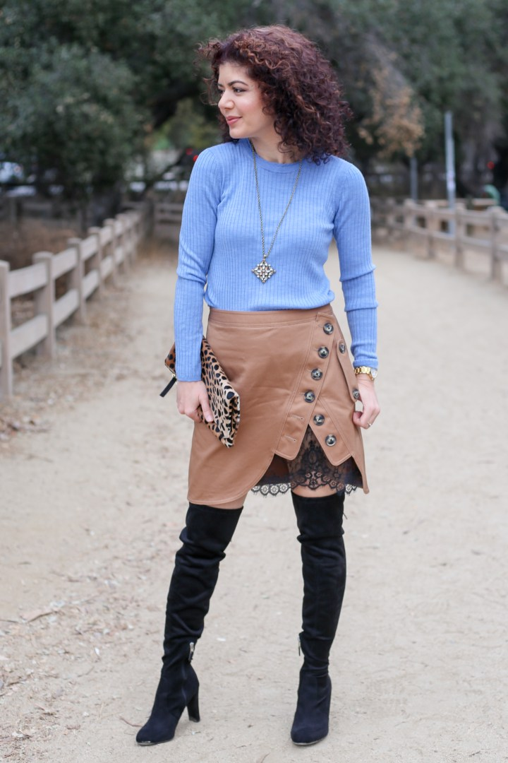 Skirt style | miniskirt | utility skirt | self portrait utility miniskirt | brown and blue color combination | why wear skirts | feminine style | style over forty | winter style | spring trend | lace | buttons | ageless style | everyday style blog | polished whimsy | over the knee boots | winter outfit | winter skirt outfit | clare v leopard print clutch