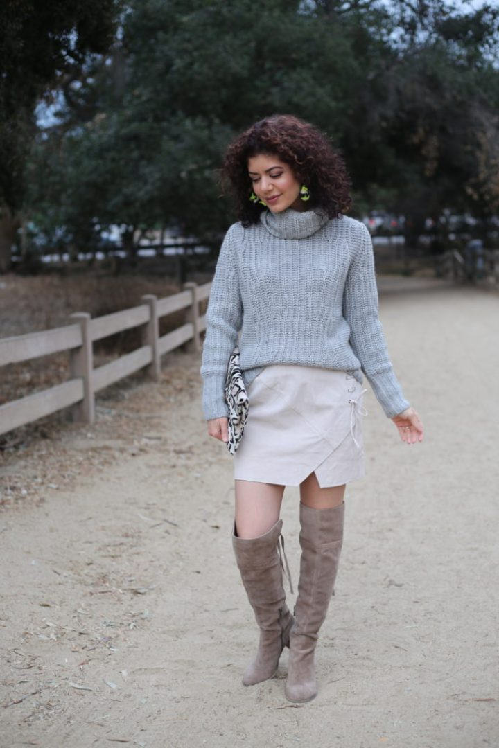 Styling a Suede Mini Skirt Outfit at Any Age | skirt outfits | why wear skirts | how to wear more skirts | mini skirts and sweaters | turtleneck sweater | over the knee boots | winter outfit | winter skirt outfit | banana republic sweater | blank nyc lace up suede mini skirt | ageless style | style over forty | everyday style blog | mini skirt and OTK boots | over the knee boots | winter outfit | sweater | winter style | short skirt | skirt outfit |