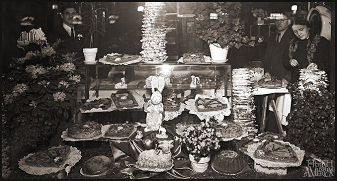 Store front window of the Lenard's Restaurant with Easter decorations and baked goods, 1160-70 Milwaukee Avenue, Chicago, fragment of a larger photograph from the 1930s, Collection of the Polish Museum of America