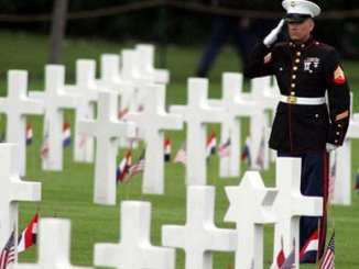 Marine Salutes over Graves
